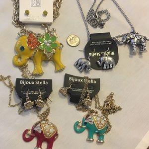 Jewelry - elephant necklaces rhinestones  earrings. NWT
